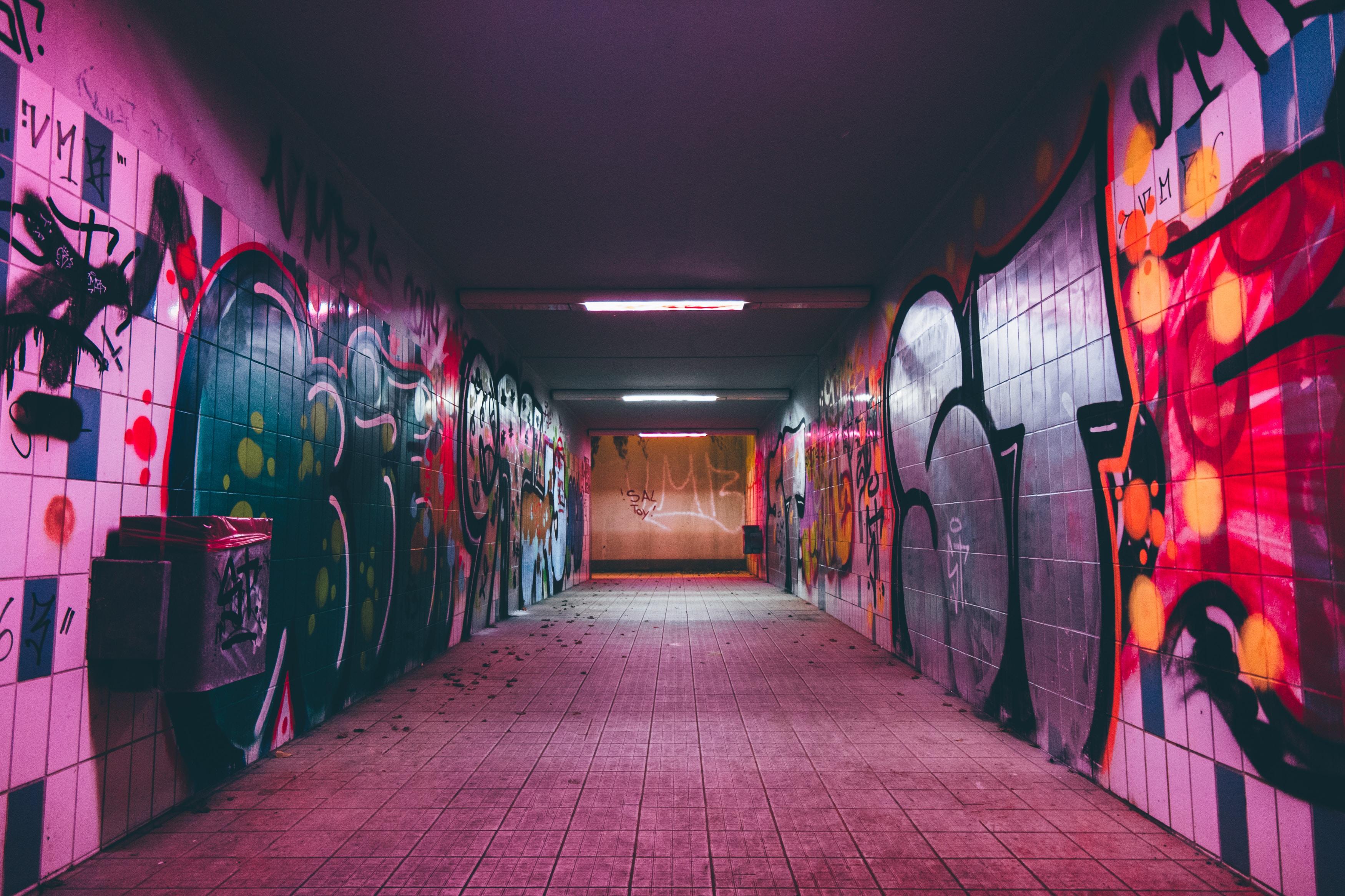 Subway with graffiti covered walls