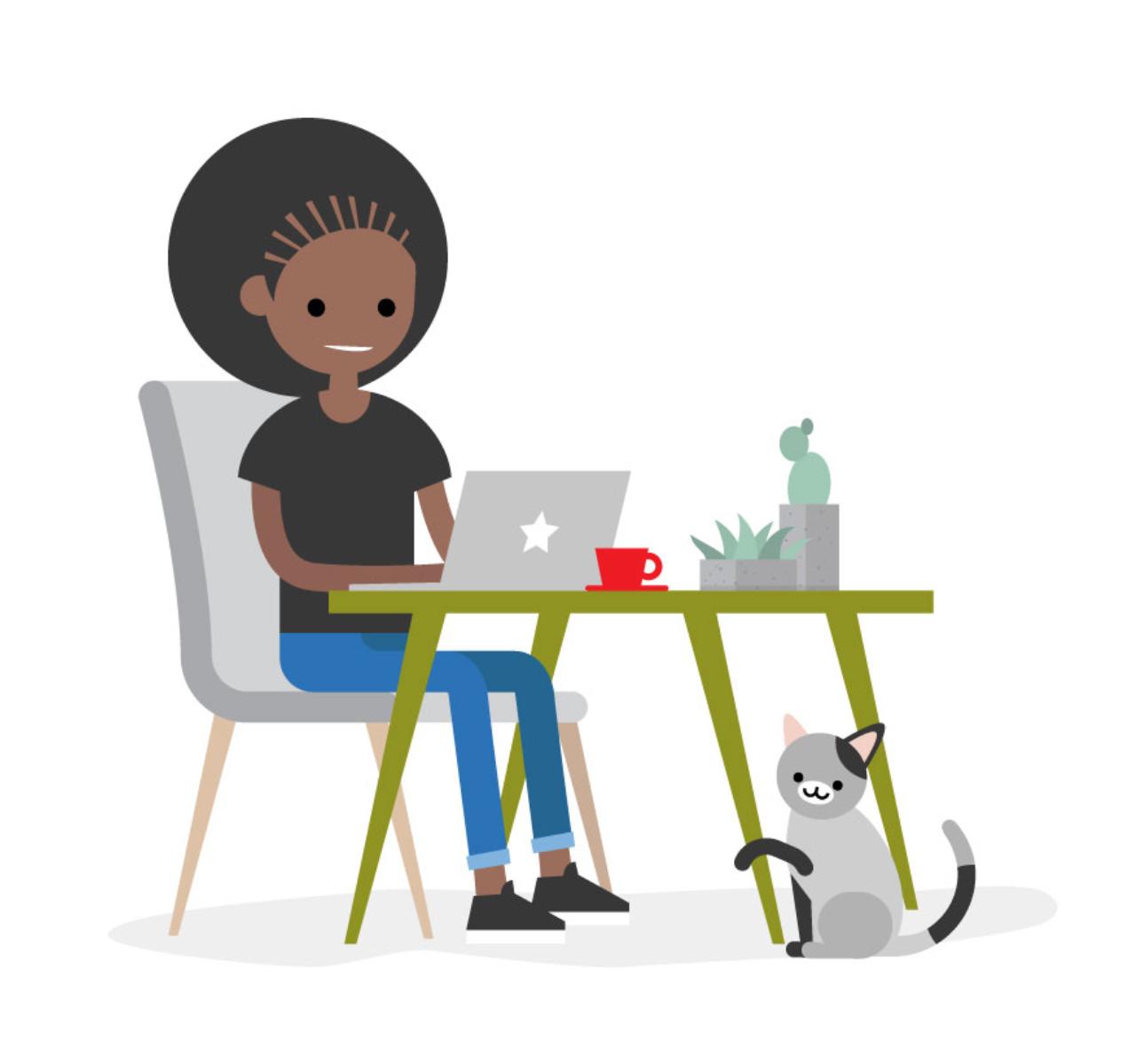 Cartoon image of someone sat at a computer